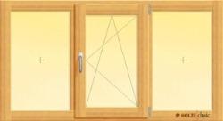 fereastra din lemn stratificat cu doua canate fixe si unul oscilobatant, imagine holze