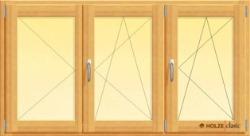 fereastra din lemn stratificat cu un canat batant doua oscilobatante si stulp intermediar, imagine holze