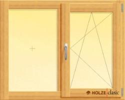 fereastra din lemn stratificat cu un canat fix si unul oscilobatant, imagine holze
