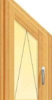 fereastra din lemn stratificat cu un canat oscilant tesit la 45 de grade, imagine holze