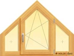 fereastra din lemn stratificat cu un canat oscilobatant si doua canate fixe tesite la 45 de grade, imagine holze