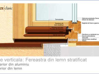 fereastra din lemn stratificat holze 71, tripan, cu frezare pentru glaf exterior din aluminium si glaf interior din lemn, imagine 032