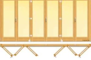 usa din lemn stratificat armonica avand trei panouri cu pliere in partea stanga si trei cu pliere in parttea dreapta, imagine holze