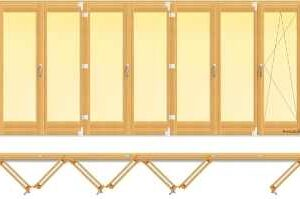 usa din lemn stratificat armonica cu sase panouri pliante si un canat oscilobatant, imagine holze