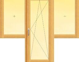 usa din lemn stratificat de balcon cu canat oscilobatant si doua ferestre fixe alaturate, imagine holze
