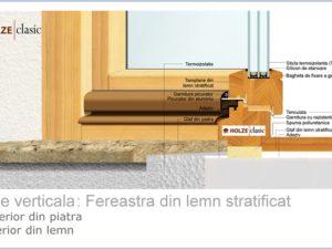Fereastra din lemn stratificat 90, cu tripan 48 mm