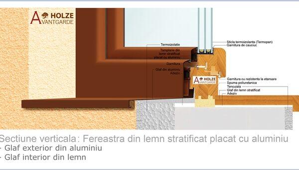 fereastra din lemn stratificat placata cu aluminiu producator , Geam termopan 48-50 mm