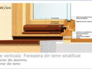 Fereastra lemn stratificat 71 cu bipan 26mm