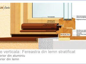 Fereastra lemn stratificat placat cu aluminiu 90 cu tripan 56mm