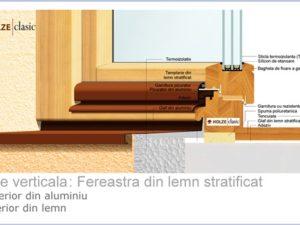 Fereastra lemn stratificat profil 90 cu tripan 44  mm