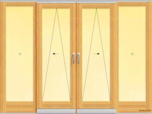 Usa din lemn stratificat pentru exterior cu patru panouri, din care doua mobile.