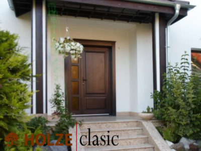 Usa exterior din lemn stratificat cu luminator holze clasic