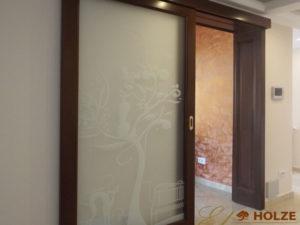 Usa glisanta din lemn cu sticla