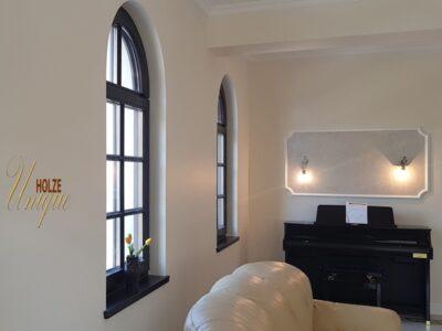 ferestre , de , din , lemn , stratificat , geam termopan , arcada , baghete , pe sticla