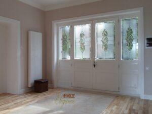 usa , usi , de , intrare , exterior din lemn stratificat alba cu vitraliu , pvc , aluminiu , poze , modele