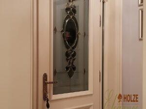 usa de intrare , exterior , lemn stratificat , alb perlat , ivory , cu vitraliu , imagine model 1115 ,holze elegance