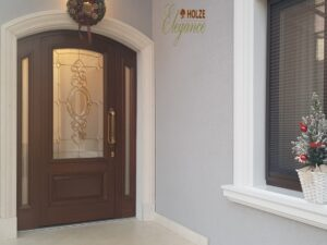 usa lemn stratificat , exterior , intrare , arcada , vitralii , imagine model 1115 , holze elegance