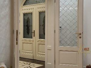 Usi din lemn stratificat cu arcada si vitraliu , imagine model 2001 holze unique
